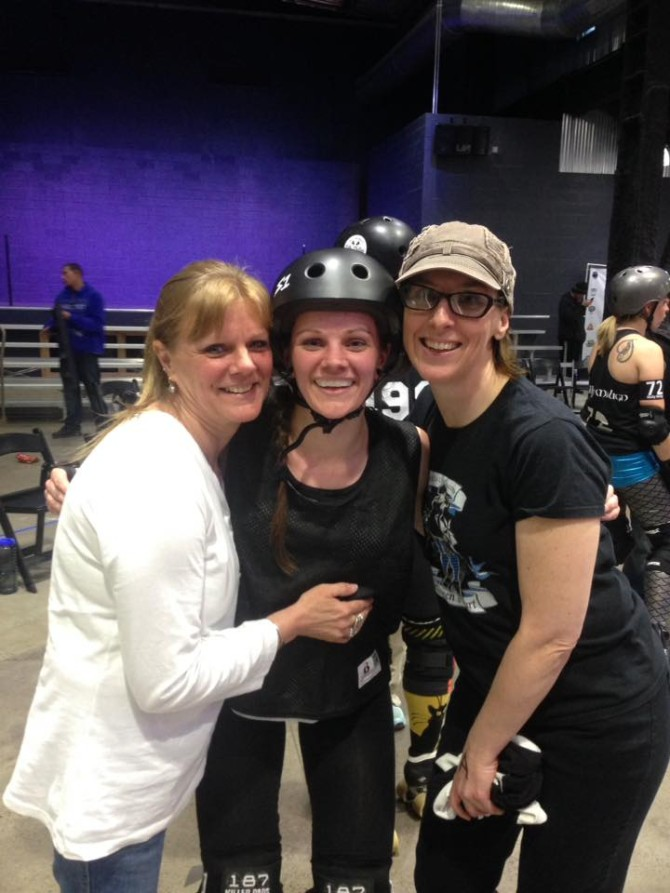 Vile Love It (right) with Queen's Court skater Billbo Bruisin's and her Mom.